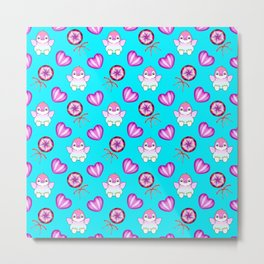 Lovely cute happy baby penguins with flapping wings, retro vintage lollipops and sweet candy hearts Metal Print