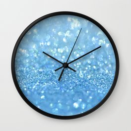 Sparkling Baby Sky Blue Glitter Effect Wall Clock