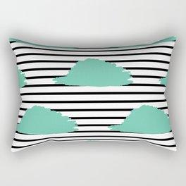 Teal Blue & Black Stripes Digital Design Rectangular Pillow