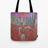 sin city Tote Bags featuring Sin Beneath the City by Labartwurx