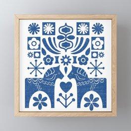 Swedish Folk Art - Blue Framed Mini Art Print