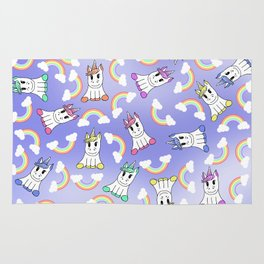Cute Girly Unicorns and Colorful Rainbows Pattern Rug