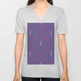 Ultra violet bird feather seamless pattern. Unisex V-Neck