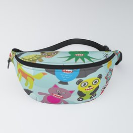 Cute cartoon Monsters seamless pattern on blue background Fanny Pack
