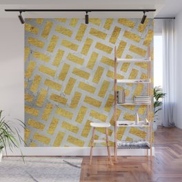 Brick Pattern 1 in Gold and Silver Wall Mural