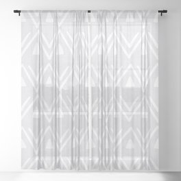 Etched Zig Zag Pattern in Gray Sheer Curtain