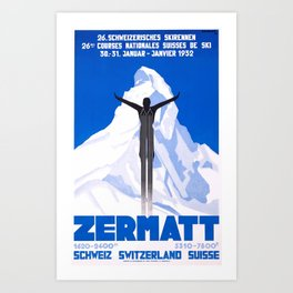 1931 Zermatt Switzerland Ski Travel Poster Art Print