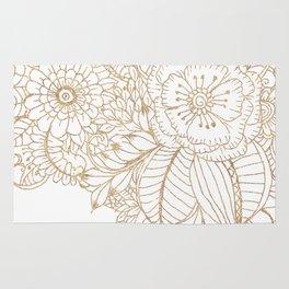 Elegant white faux gold glitter modern floral Rug