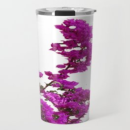 LILAC PURPLE BOUGAINVILLEA VINES CLIMBING ON WHITE Travel Mug