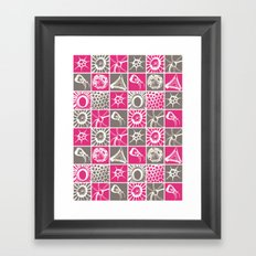 Microscopic Life Sillouetts Pink and Gray Framed Art Print