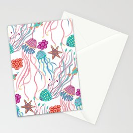 Jellyfish, osean patern Stationery Cards
