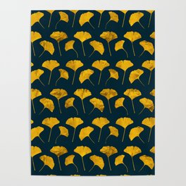 Yellow ginkgo leaves pattern Poster