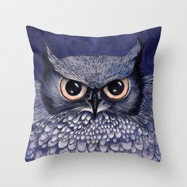 La Sagesse du Hibou (The Blue Owl) Throw Pillow