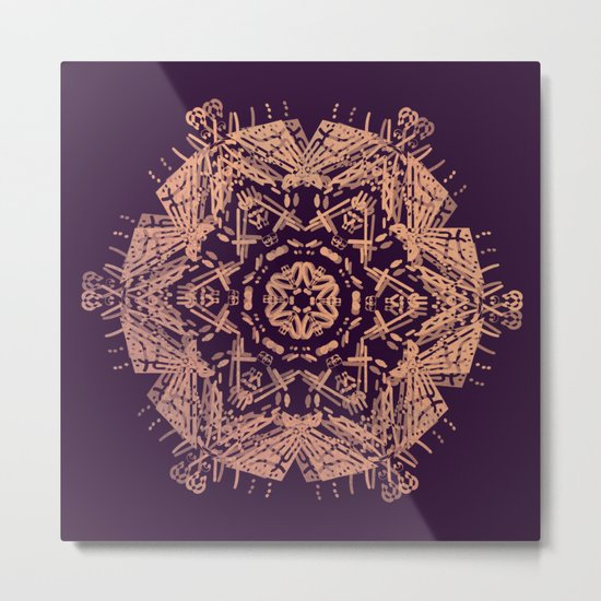 Bronze mandala on dark purple Metal Print