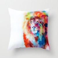 lion Throw Pillows featuring Lion by Slaveika Aladjova