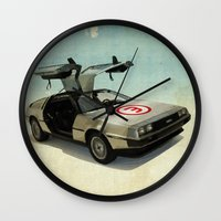 delorean Wall Clocks featuring Number 3 - DeLorean by Vin Zzep