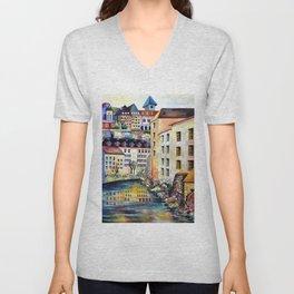 Gamla Stan Old City Stockholm Sweden Architectural Watercolor Landscape Unisex V-Neck