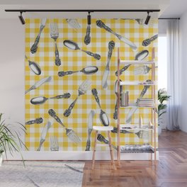 Utensils on Yellow Picnic Blanket Wall Mural