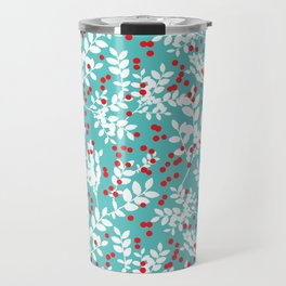 Red Berries and White Leaves Travel Mug