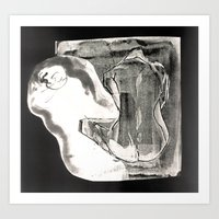 nudes Art Prints featuring Inverted nudes by Naia Designs