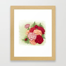 Full bloom | Ladybug carnation Framed Art Print