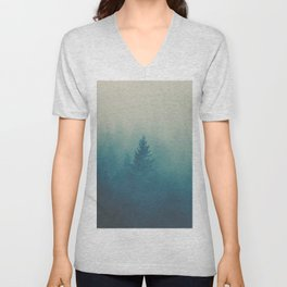 MIsty Turquoise Blue Pine Forest Foggy Parallax Tree Landscape Silhouette Unisex V-Neck