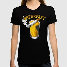 Beer For Breakfast Funny Gift For Beer Drinker And Smoker T-shirt