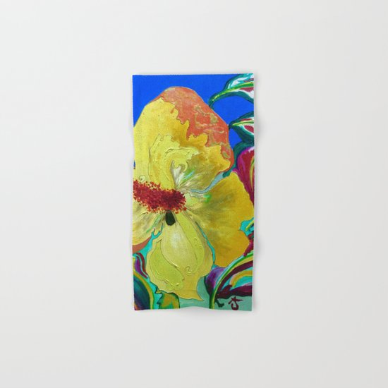 Birthday Acrylic Yellow Orange Hibiscus Flower Painting with Red and Green Leaves Hand & Bath Towel
