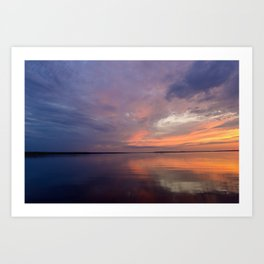 Calm on the lake in the twilight Art Print