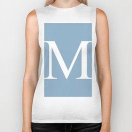 Letter M sign on placid blue background Biker Tank