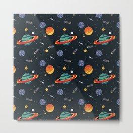 Planet System Pattern Metal Print