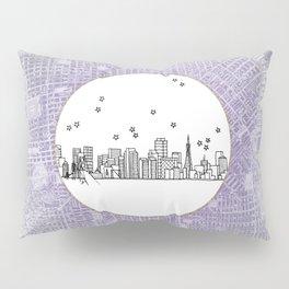 San Francisco, California City Skyline Illustration Drawing Pillow Sham