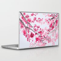 cherry blossoms Laptop & iPad Skins featuring Cherry Blossoms  by Catherine Holcombe