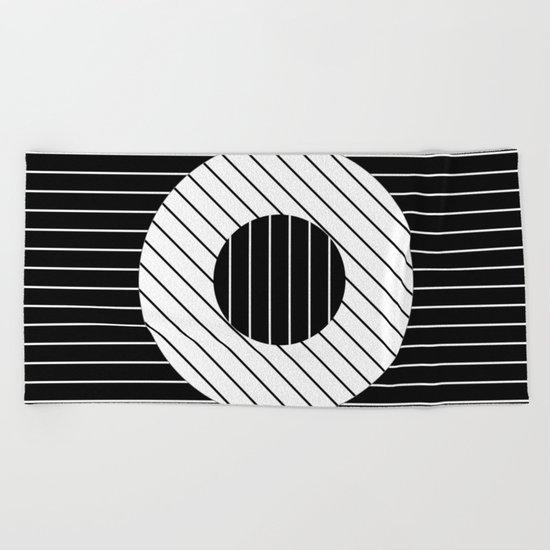 Turn (Minimalistic, black and white, geometric design) Beach Towel