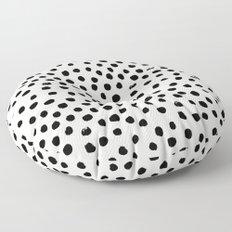 Preppy brushstroke free polka dots black and white spots dots dalmation animal spots design minimal Floor Pillow