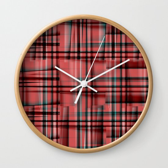 Pattern red 1 Wall Clock