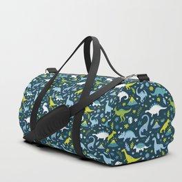 Kawaii Dinosaurs in Blue + Green Duffle Bag