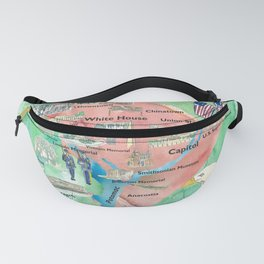 Washington DC USA Illustrated Travel Poster Favorite Map Tourist Highlights Fanny Pack