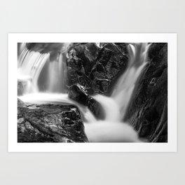Shelving Rock Stream - Black & White Art Print