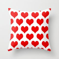 Holidaze Love Hearts Red Throw Pillow