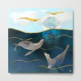 Sea Lions Playing with the Moon - Underwater Dreams Metal Print