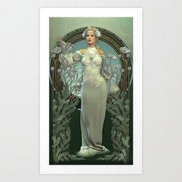 Art Nouveau White Lady Art Print