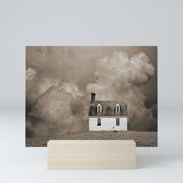 House in Sepia Brown Mini Art Print
