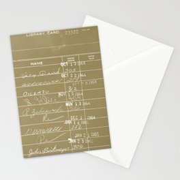Library Card 23322 Negative Brown Stationery Cards