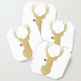 Rudolph The Red-Nosed Reindeer | Gold Glitter Coaster