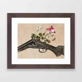 One Gun, One Rose, Two Moths Framed Art Print