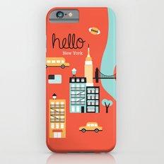 Hello New York - retro manhattan NYC icons illustration Slim Case iPhone 6