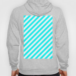 Diagonal Stripes (Aqua Cyan/White) Hoody