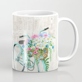 Vintage Bicycles With a City Background Coffee Mug