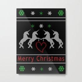 Unicorn Christmas Metal Print
